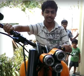 Balakrishna Son Mokshagna Teja on Legend Bike