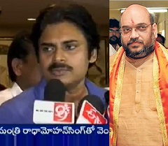 Pawan Kalyan talking to media after Amith Shah's meet