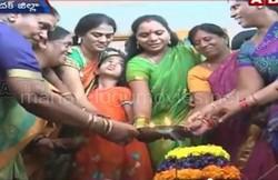K Kavitha celebrating Bathukamma in Harish Rao's residence