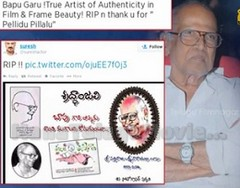 Celebrities pay Tribute to legendary director Bapu Garu on Twitter