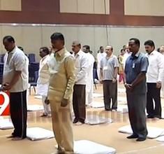 Chandrababu and Ministers at Yoga classes