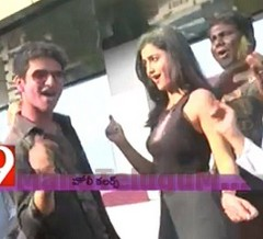 Actors Nikhil and Trida Holi dance with foreigners