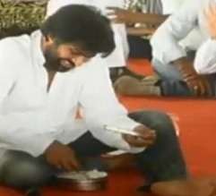 Pic Talk: Pawan Kalyan eats food brought by farmers