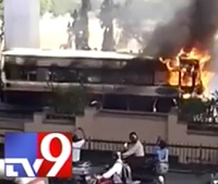 Fire mishap in Metro Express Bus at Patny
