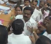 TRS MLA slaps Congress MLA in ZP meet | Exclusive Visuals