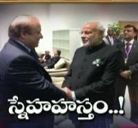 Modi shake hands with Pak President Nawaz Sharif @ COP-2015 summit
