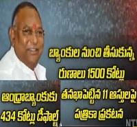 Andhra Bank Notice to TDP MP Rayapati Sambasiva Rao for Didn't Pay Back Loan Amount 434 Crore