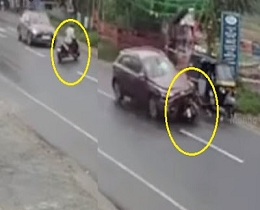 CCTV Footage – Horror Moments Of Accident – Car Hits Scooty
