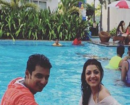 Kajal Enjoying in a Swimming Pool with Tamil Hero