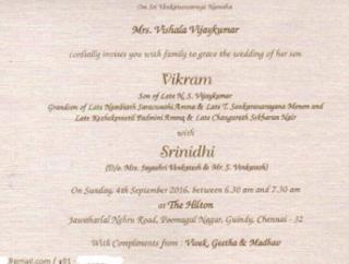Wedding Card: Vikram Weds Srinidhi