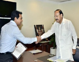 KTR to meet Venkaiah, request aid for Telangana flood relief
