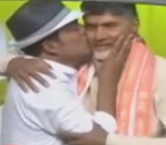 Hero Kisses Chandrababu in Public