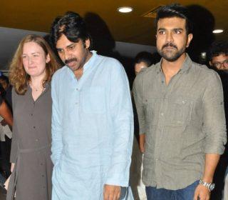 Pawan Kalyan Watches Rangasthalam Movie Photos
