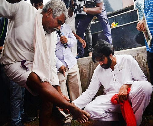 When Pawan Examined Feet Of A Farmer
