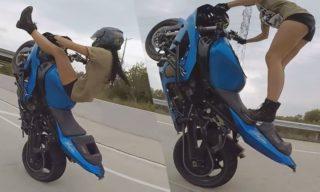 Watch: Nail-biting stunts by a super-woman on bike