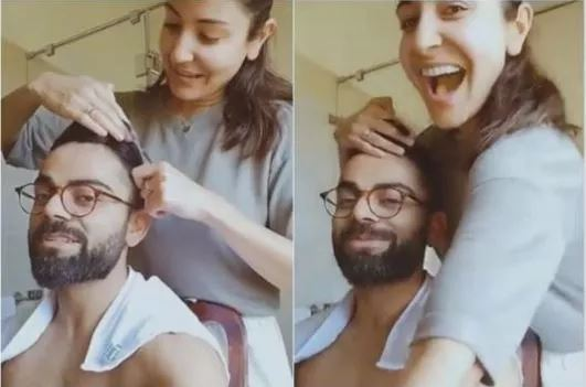 Anushka Sharma Gives Haircut to Virat Kohli With Kitchen Scissors Amid Coronavirus Lockdown