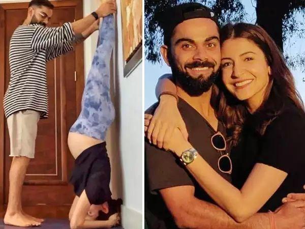 Virat Kohli helps Anushka with Shirshasana pose
