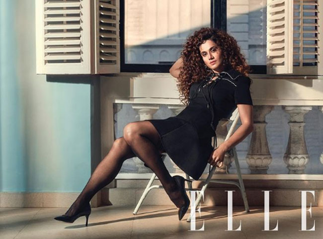 Pic Talk: Tapsee Goes All BlackFor Her 'Elle' Covershoot