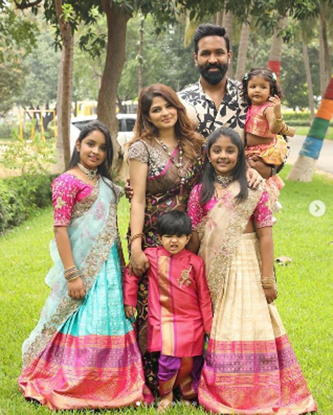 Photostory: Manchu Viranica Shares Clicks Of Vishnu & Kids On Sankranti!