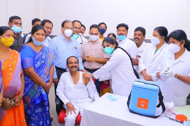 2nd phase of vaccine drive started in Telangana Health Minister takes 1st dose